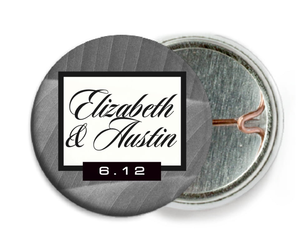 custom pin back buttons - tuxedo - bali (set of 6)