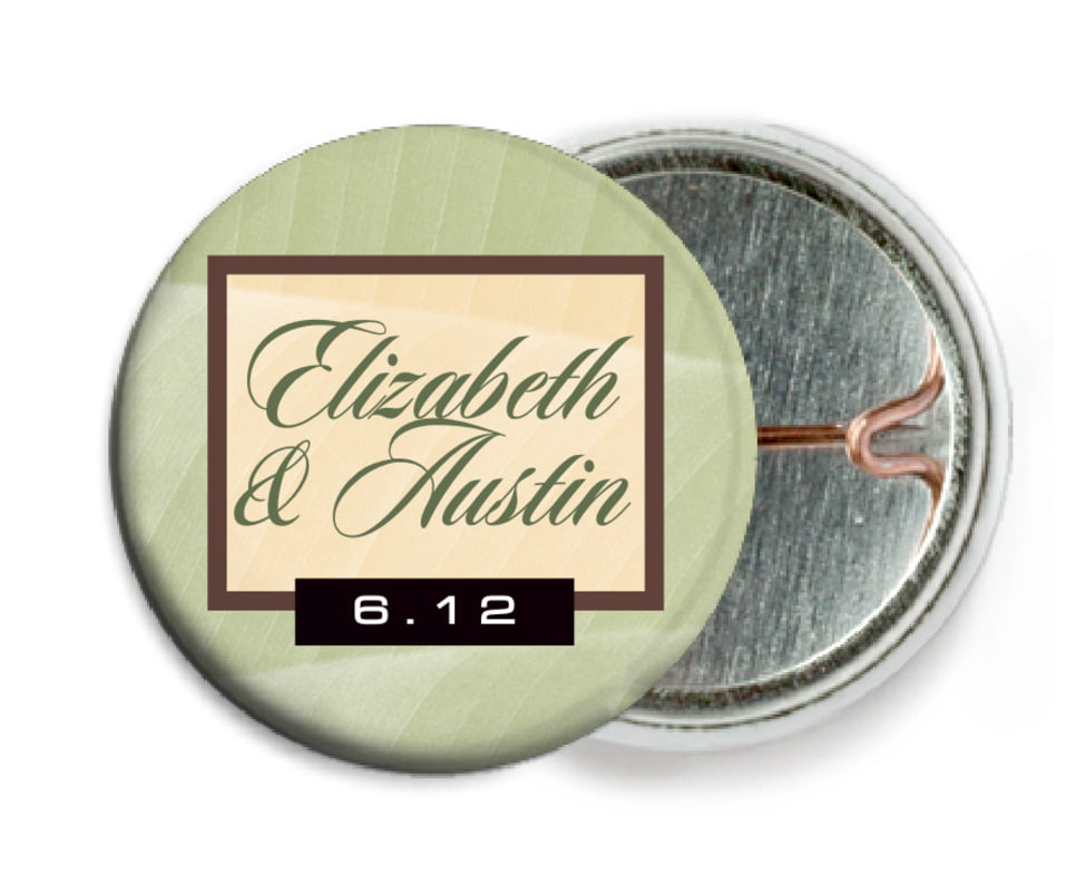 custom pin back buttons - green tea - bali (set of 6)