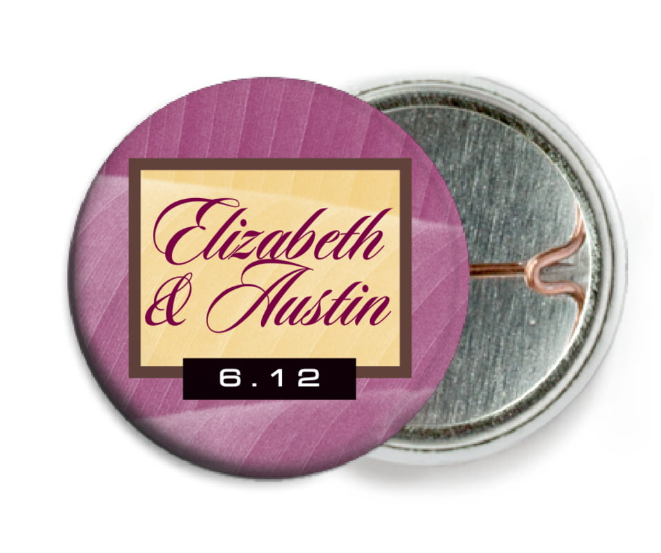 custom pin back buttons - burgundy - bali (set of 6)