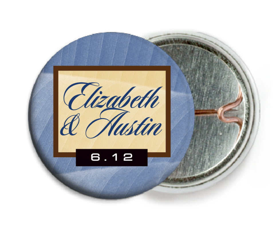 custom pin back buttons - deep blue - bali (set of 6)