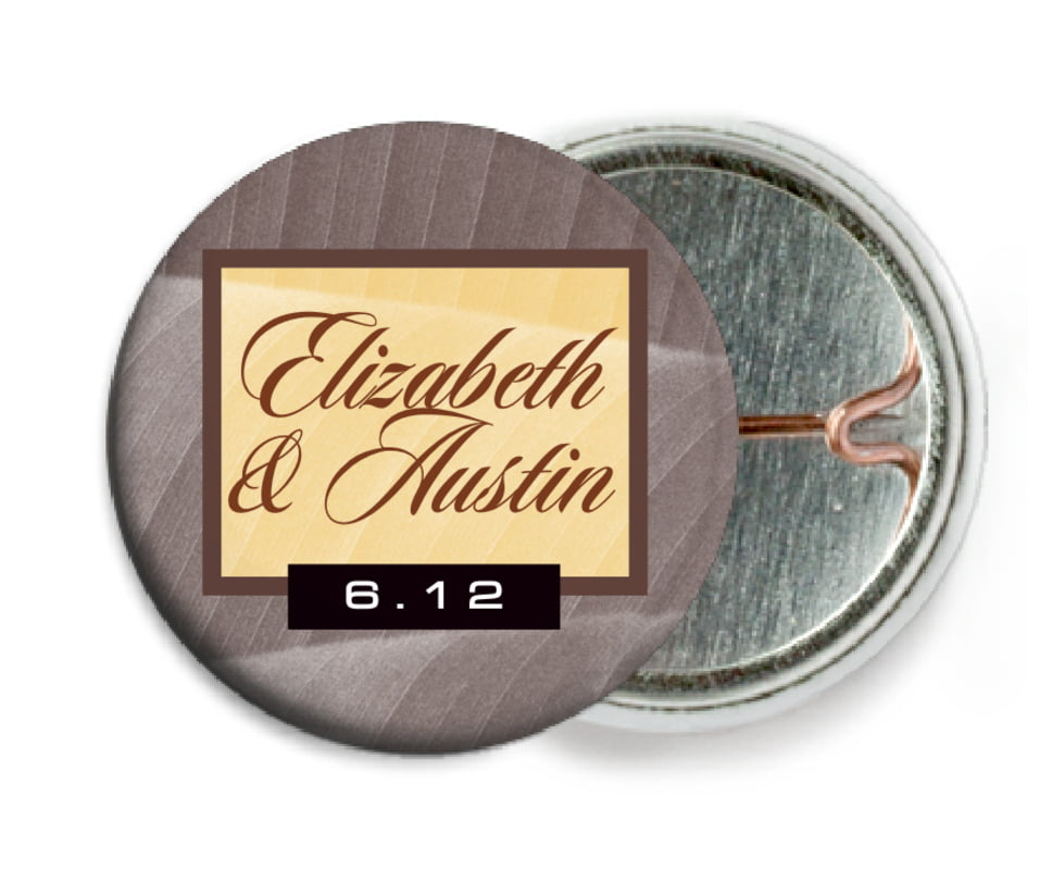 custom pin back buttons - chocolate - bali (set of 6)