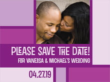 custom save-the-date cards - purple - boxicle (set of 10)