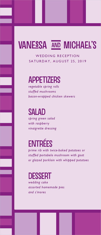custom menus - purple - boxicle (set of 10)
