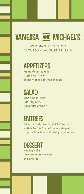 custom menus - green - boxicle (set of 10)