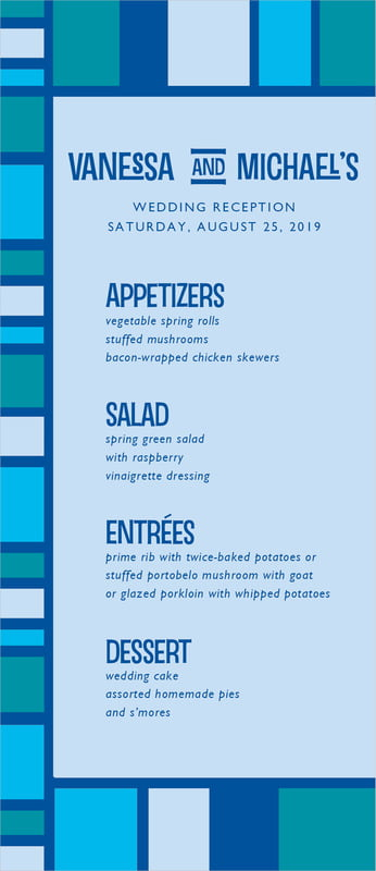 custom menus - blue - boxicle (set of 10)
