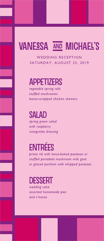 custom menus - bright pink - boxicle (set of 10)