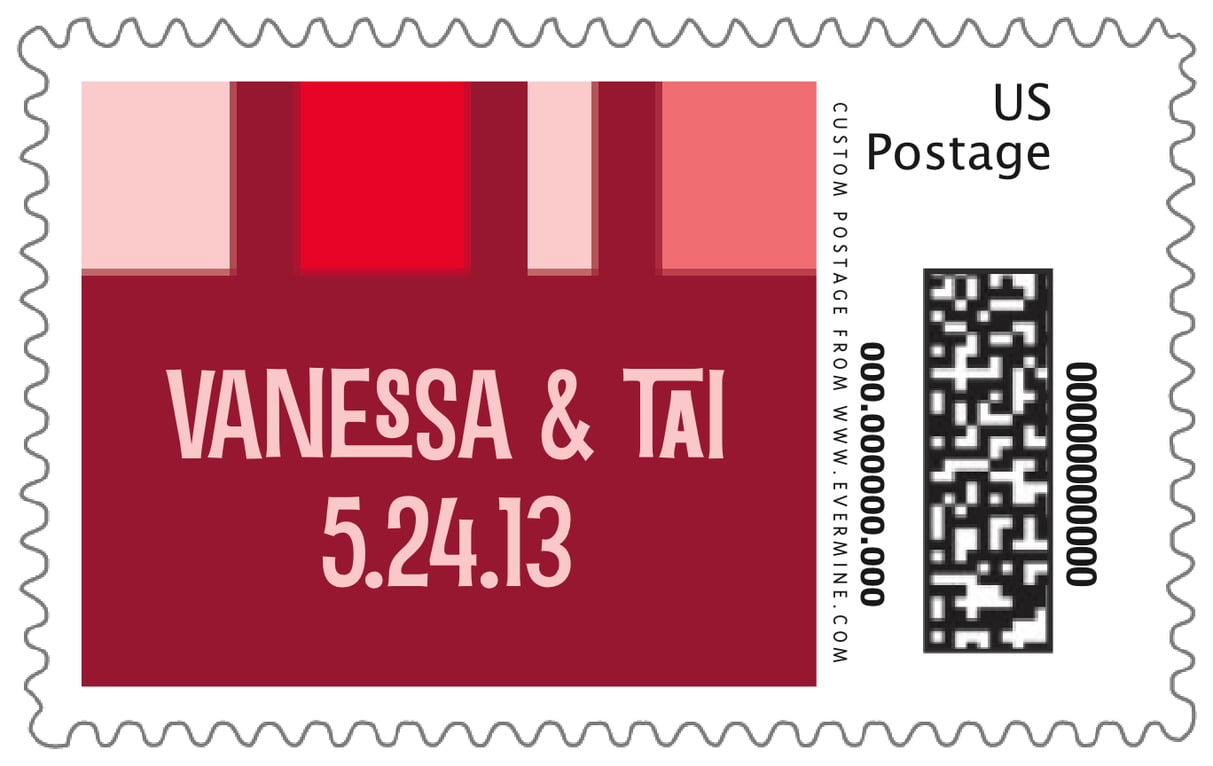 custom large postage stamps - red - boxicle (set of 20)
