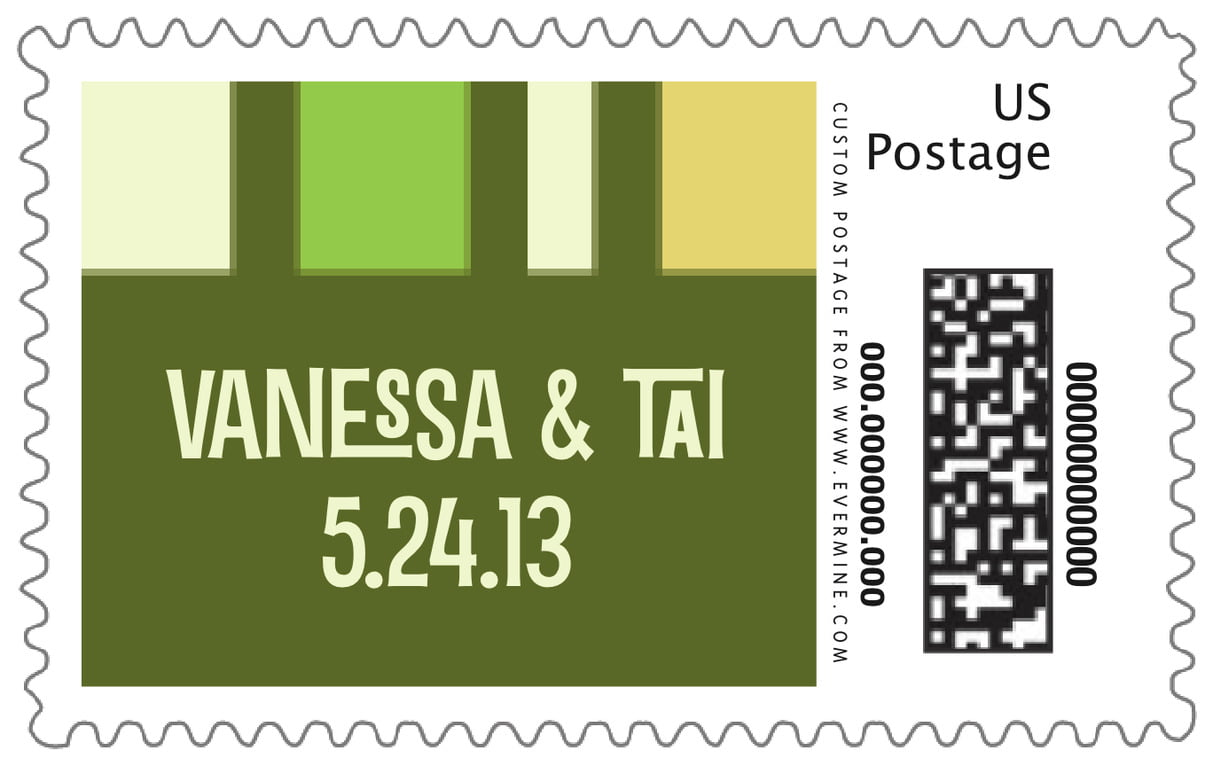 custom large postage stamps - green - boxicle (set of 20)