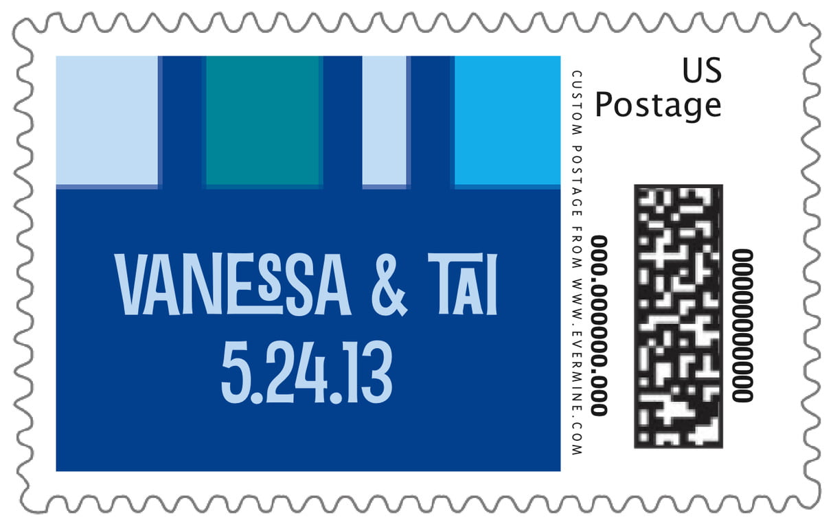 custom large postage stamps - blue - boxicle (set of 20)