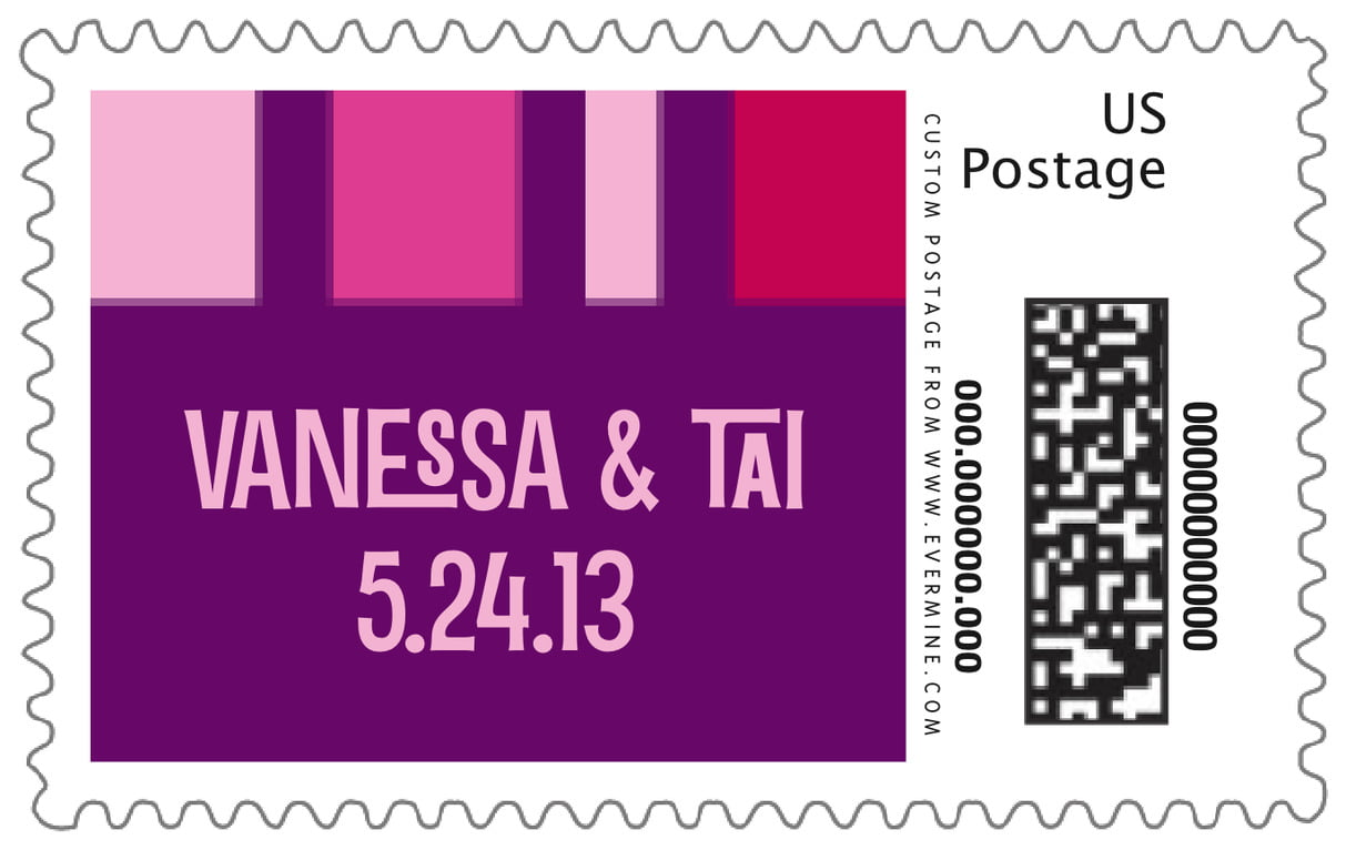 custom large postage stamps - bright pink - boxicle (set of 20)