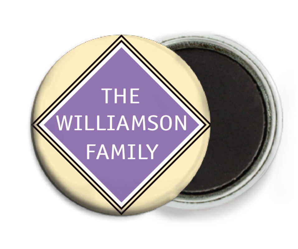 custom button magnets - purple - bentley (set of 6)