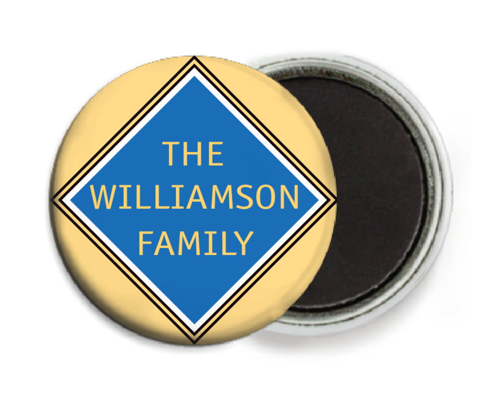 custom button magnets - royal blue & gold - bentley (set of 6)