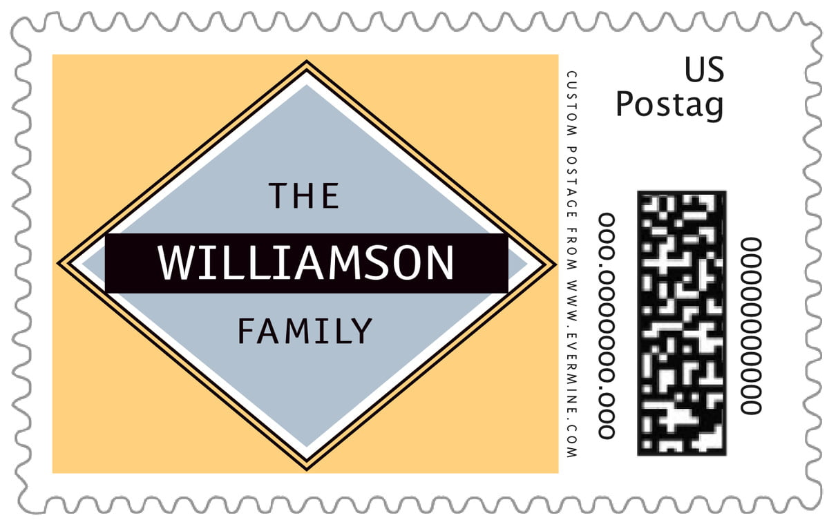 custom large postage stamps - periwinkle & gold - bentley (set of 20)