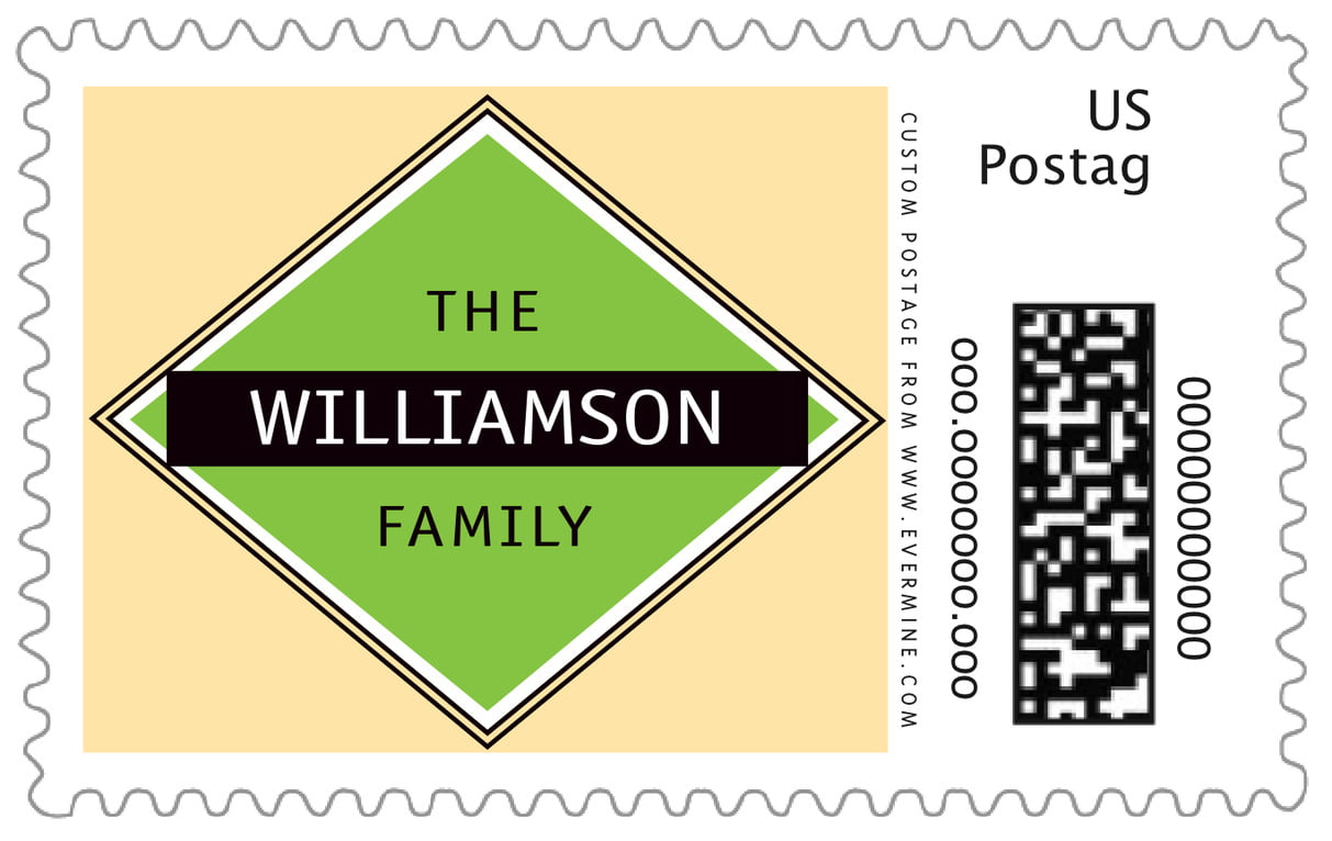 custom large postage stamps - lime & gold - bentley (set of 20)