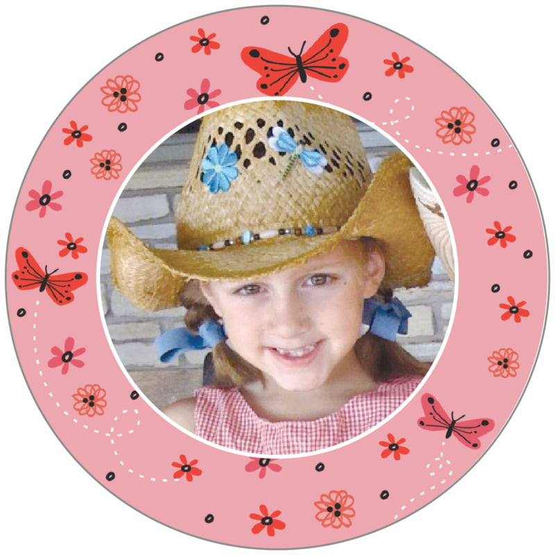 circle photo labels - grapefruit - butterfly (set of 20)