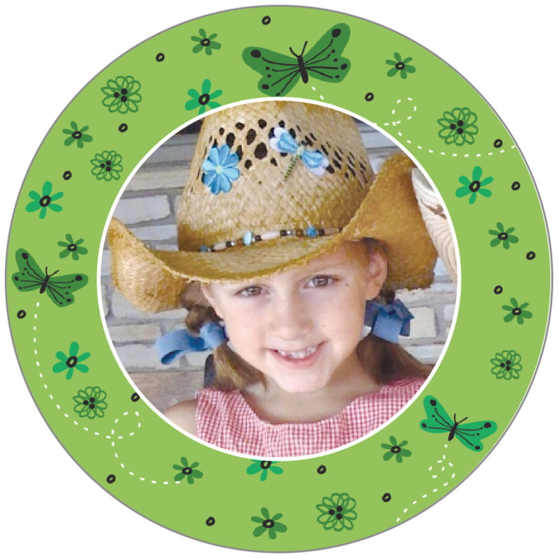 circle photo labels - green tea - butterfly (set of 20)