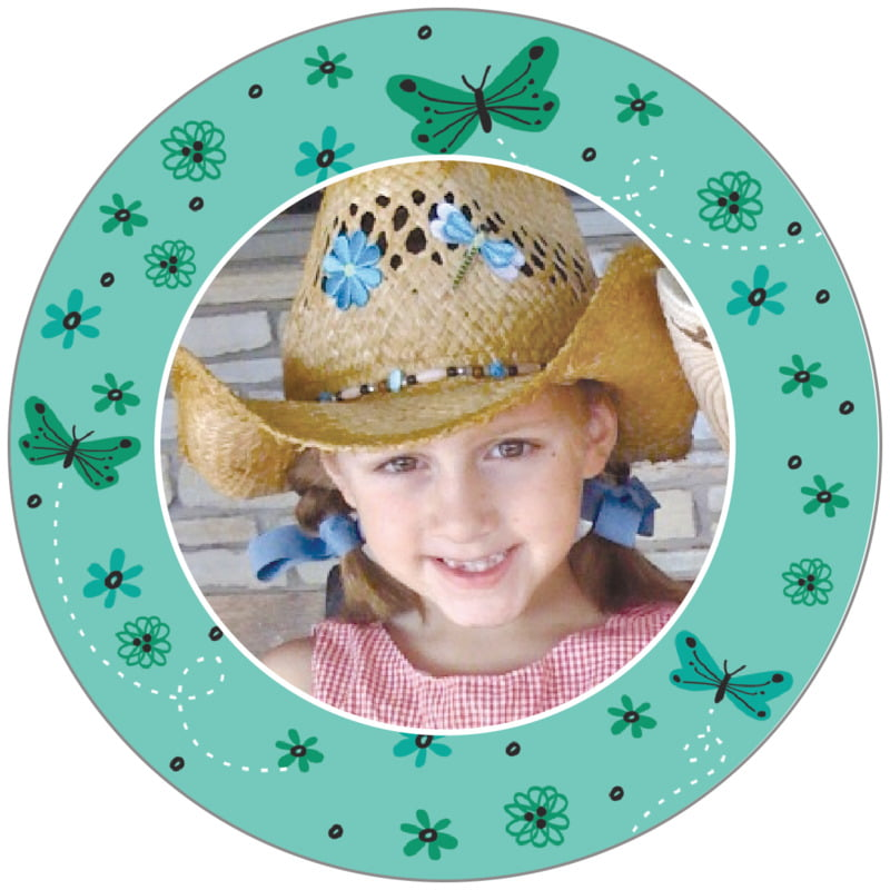 circle photo labels - aruba - butterfly (set of 20)