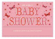 baby shower invitations - grapefruit - butterfly (set of 10)