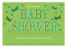 baby shower invitations - green tea - butterfly (set of 10)