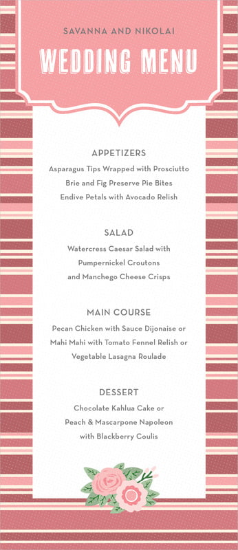 custom menus - grapefruit - bella banded (set of 10)