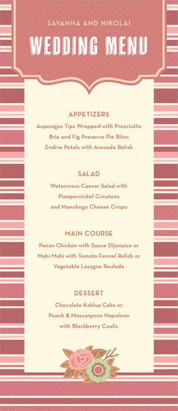 custom menus - spice - bella banded (set of 10)