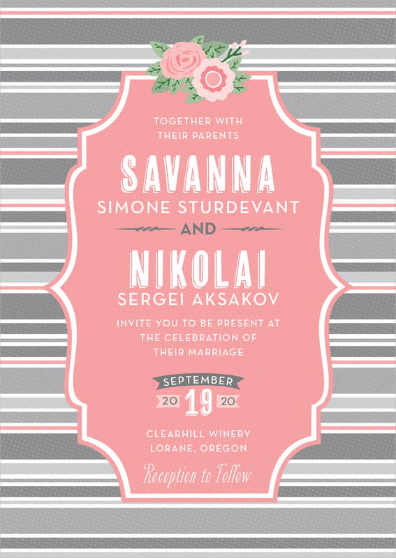custom invitations - grapefruit - bella banded (set of 10)