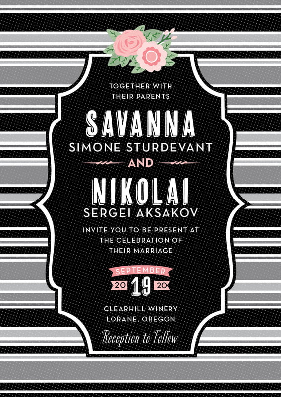 custom invitations - tuxedo - bella banded (set of 10)