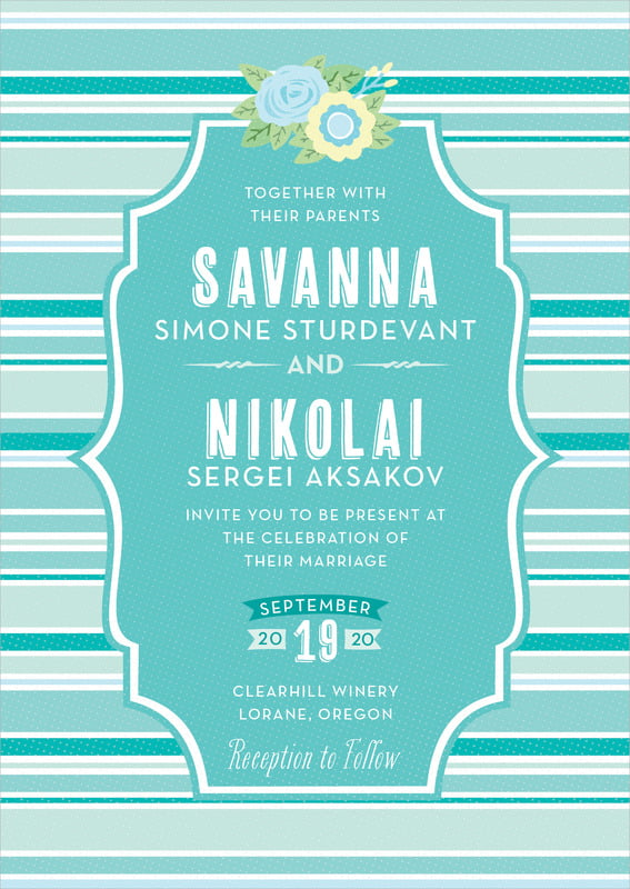 custom invitations - aruba - bella banded (set of 10)