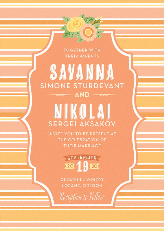 custom invitations - tangerine - bella banded (set of 10)