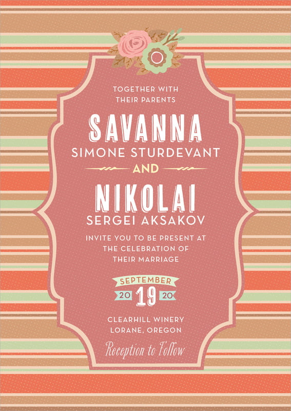 custom invitations - spice - bella banded (set of 10)
