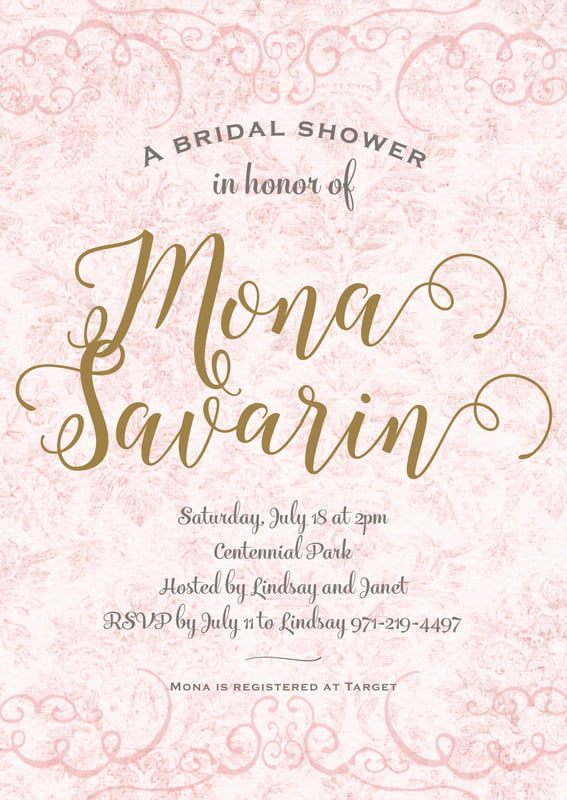 baby shower invitations - blush - burnished brocade (set of 10)
