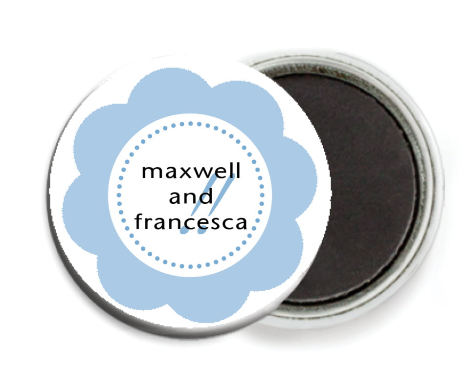 custom button magnets - blue - bella (set of 6)