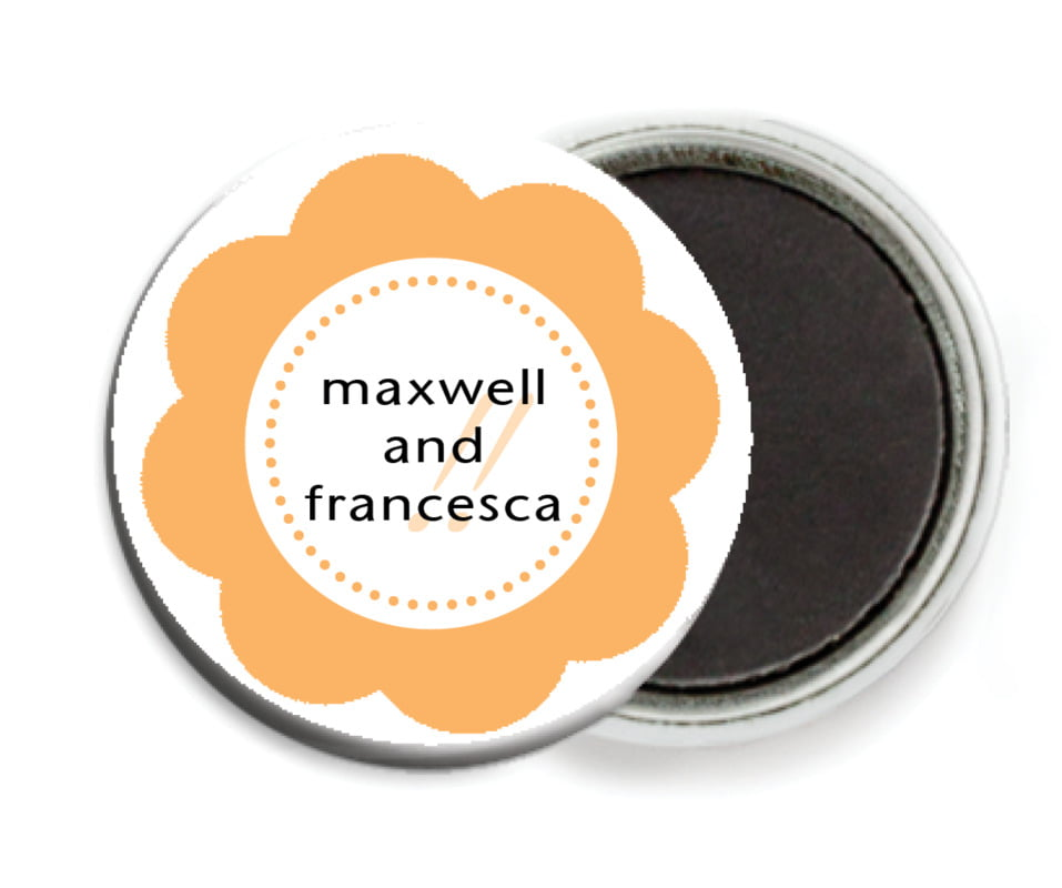 custom button magnets - tangerine - bella (set of 6)