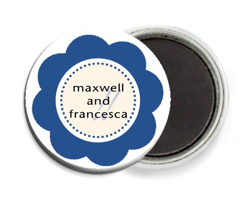 custom button magnets - deep blue - bella (set of 6)