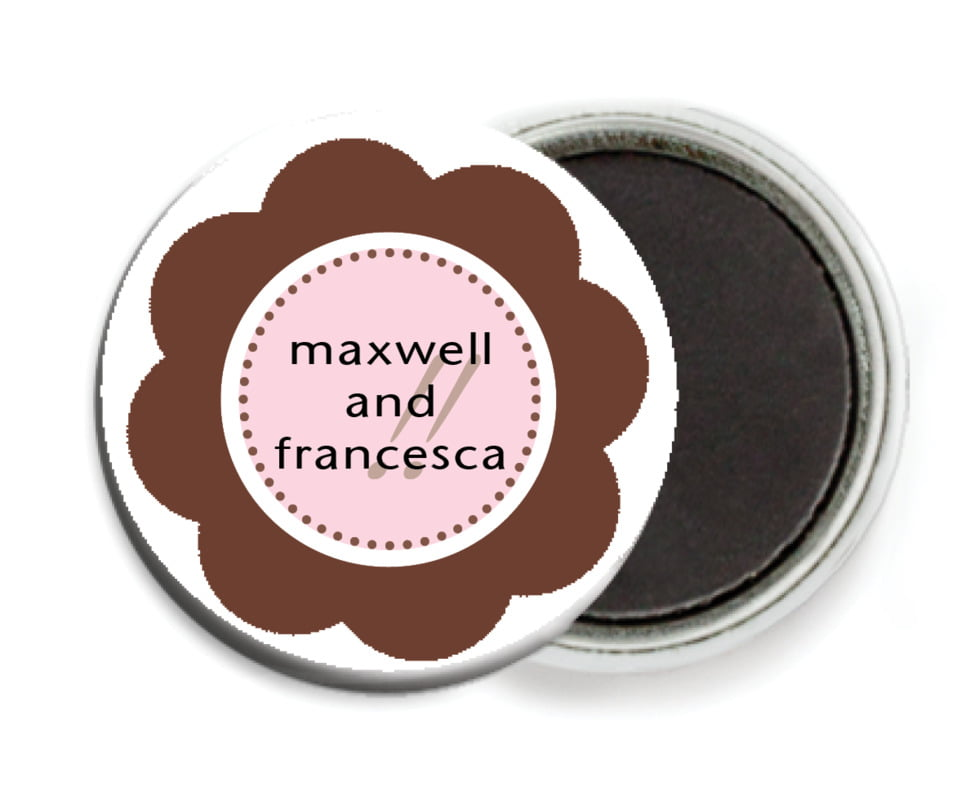 custom button magnets - cocoa & pink - bella (set of 6)