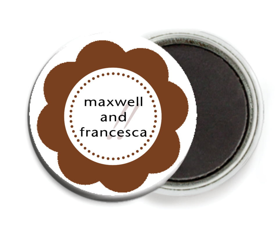 custom button magnets - chocolate - bella (set of 6)
