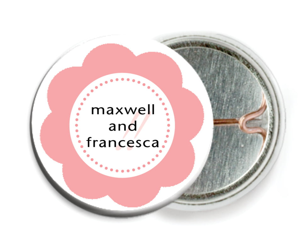 custom pin back buttons - grapefruit - bella (set of 6)