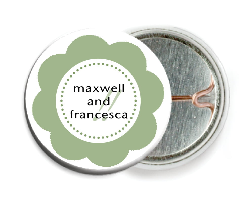 custom pin back buttons - sage - bella (set of 6)