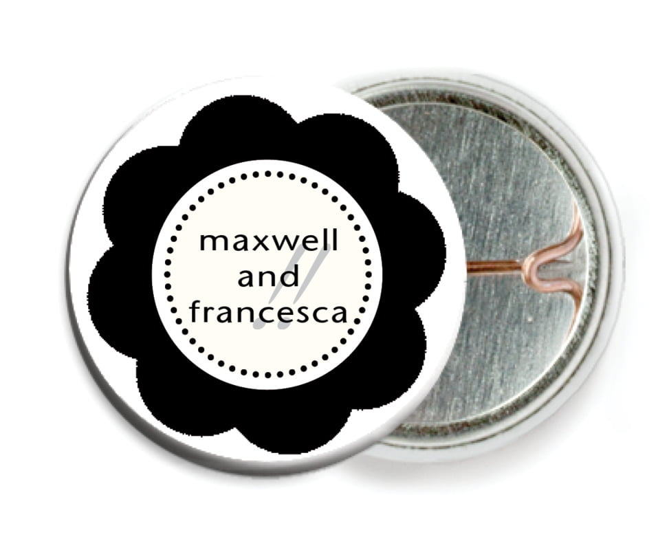 custom pin back buttons - tuxedo - bella (set of 6)
