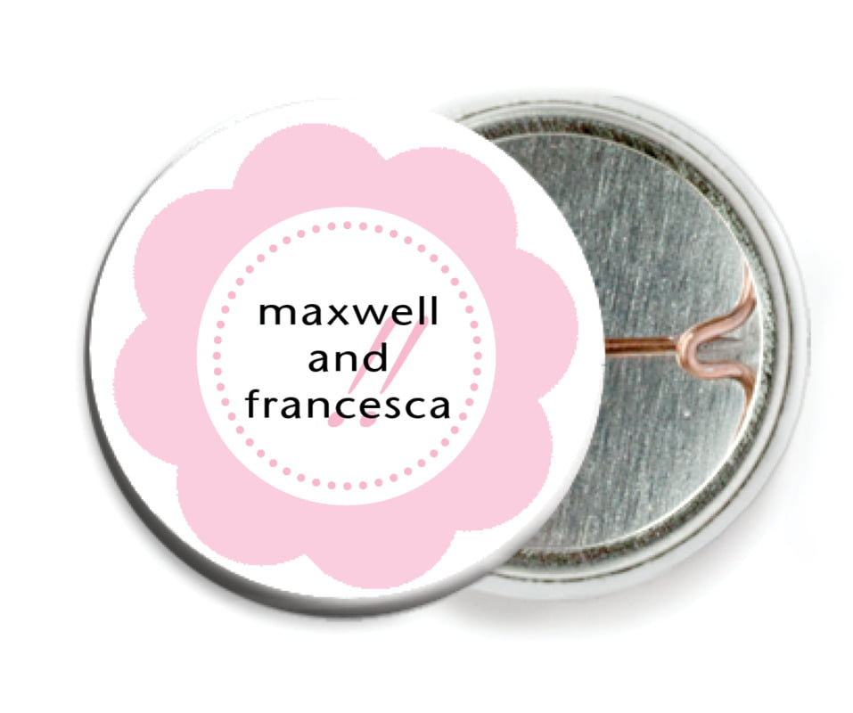 custom pin back buttons - pale pink - bella (set of 6)