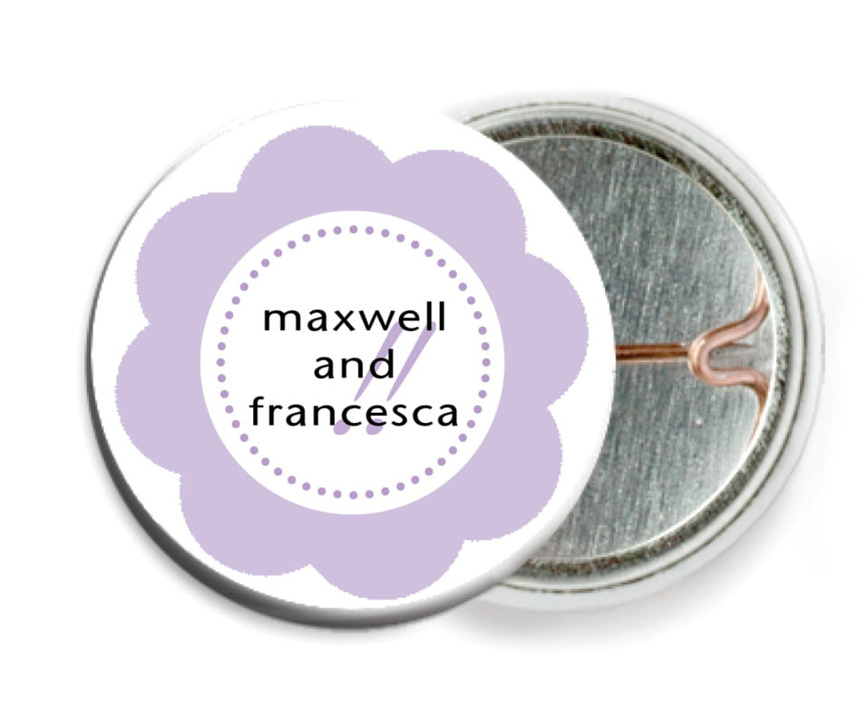 custom pin back buttons - lilac - bella (set of 6)