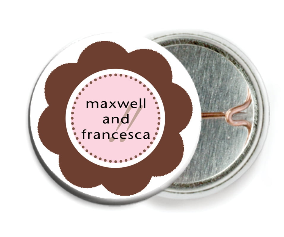 custom pin back buttons - cocoa & pink - bella (set of 6)