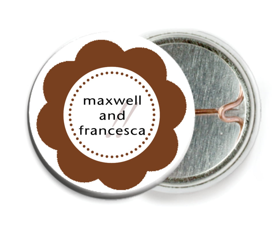 custom pin back buttons - chocolate - bella (set of 6)