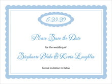 custom save-the-date cards - blue - bella (set of 10)