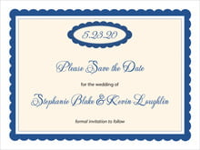 custom save-the-date cards - deep blue - bella (set of 10)