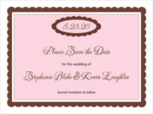 custom save-the-date cards - cocoa & pink - bella (set of 10)