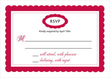 custom response cards - deep red - bella (set of 10)