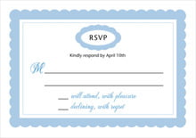 custom response cards - blue - bella (set of 10)