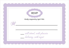 custom response cards - lilac - bella (set of 10)