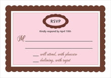 custom response cards - cocoa & pink - bella (set of 10)